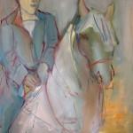 Blue horse Huile sur toile l59 x H73cm