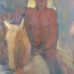 Cavalière rouge Huile sur toile l55 x H70 cm