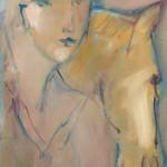 Connivence en ocre Huile sur toile l33 x L48 cm
